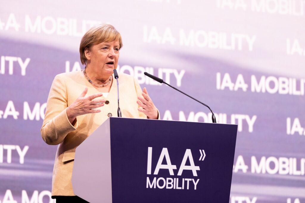 Angela Merkel, le 7 septembre 2021, à l'IAA de Munich.