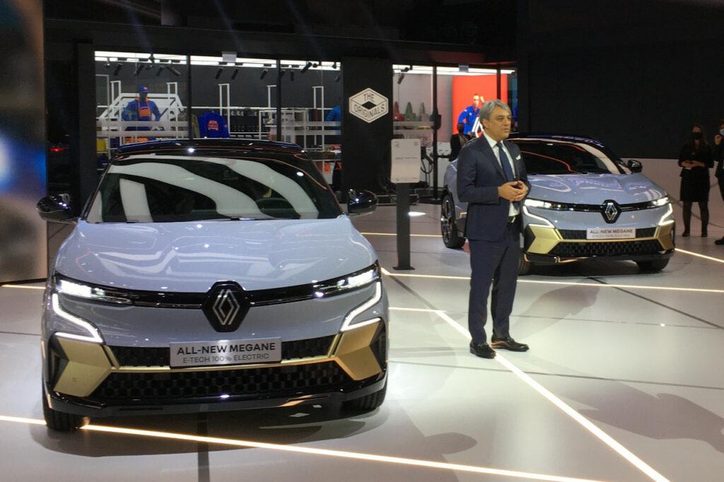 Luca de Meo, directeur général de Renault, lors de la présentation de la Mégane E-tech Electric à l'IAA de Munich.