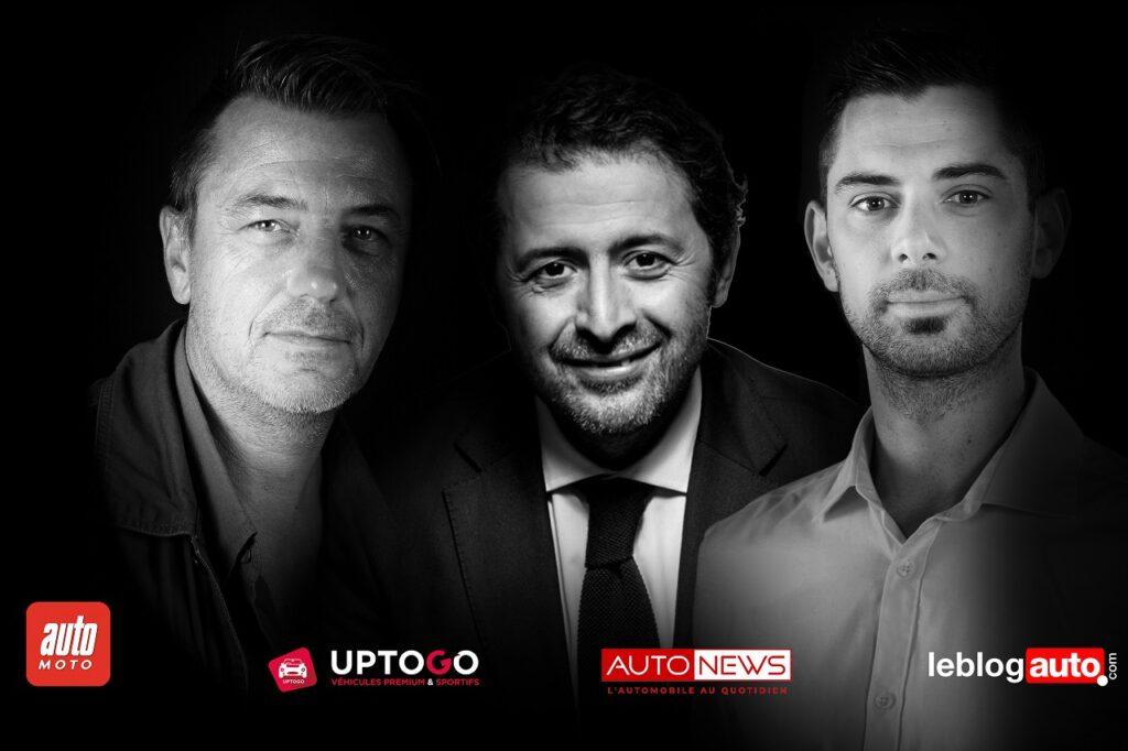 Didier Le Quemener et Amaury Peyrot, les cofondateurs d'UpToGo, encadrent Eric Aderdor, le président de Horyzon.