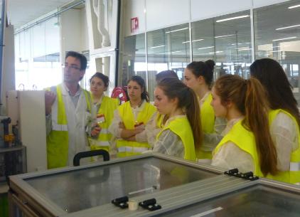 Des lycéennes du lycée Charles de Gaulle de Caen visitent le site Valeo de Mondeville, le 19 avril 2013.