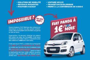 Fiat propose une Panda à 1 euro par mois pendant trois ans avec la prime à la conversion